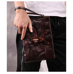 Chocolate Leather Mens Clutch Wristlet Wallet Bag Cool Zipper Clutch Wallet For Men