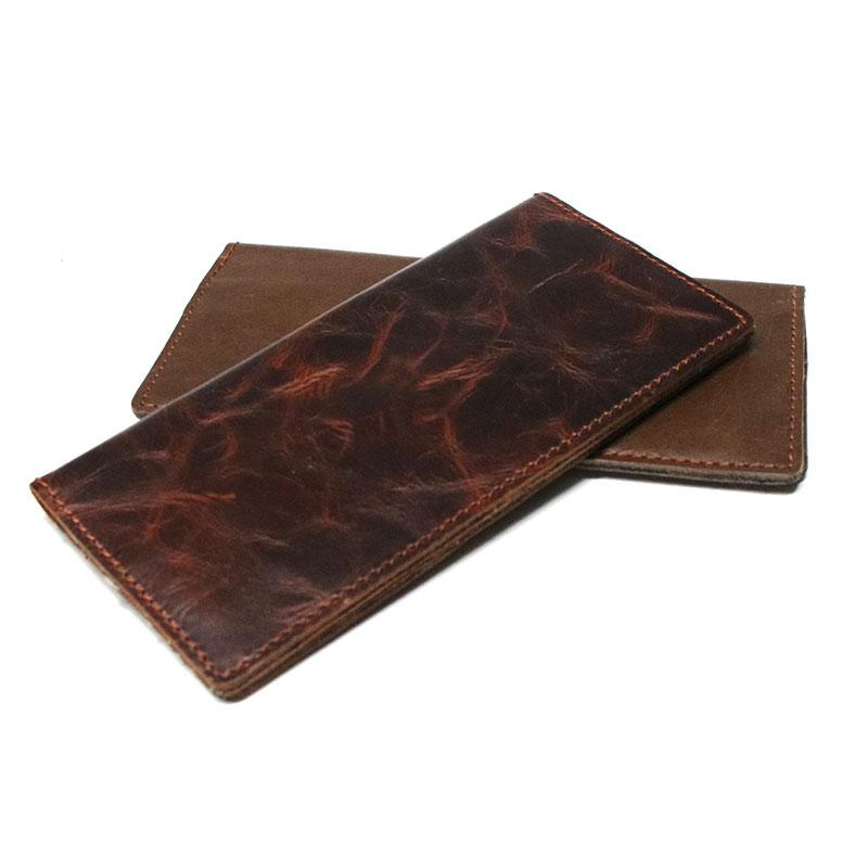 Coffee Leather Long Wallets for men Slim Bifold Vintage Men Long Wallet