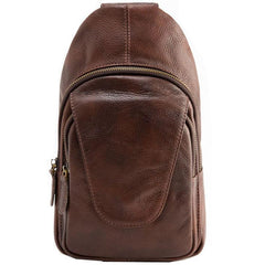 Coffee Leather Mens Sling Bag Sling Shoulder Bags Sling Backpacks Chest bag for men
