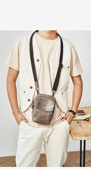 Cool Black Leather Mens Small Messenger Bag Courier Bag Chest Bag Phone Side Bag for men