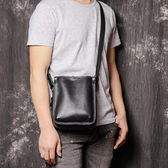 Cool Black LEATHER MENS Vertical SIDE BAGS COURIER BAG Black Vertical MESSENGER BAG FOR MEN