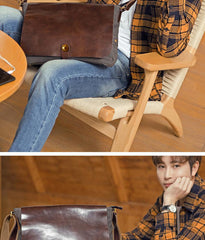 Cool Black Canvas Leather Mens Brown Courier Bag Messenger Bags Casual Postman Bags for Men