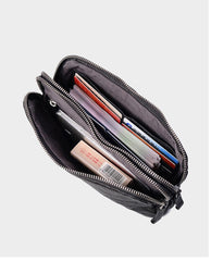 Cool Black Leather Mens Long Wallets Large Double Zipper Clutch Wallet Coffee Vintage Clutch Purse For Men