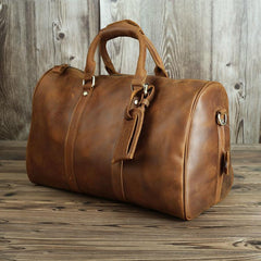 Brown Leather Men's 14 inches Overnight Bag Travel Bag Luggage Weekender Bag For Men