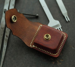 Cool Brown Leather Mens Holster Zippo Lighter Case Standard Zippo Lighter Holder with Belt Clip For Men