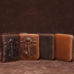 Brown Mens Leather Billfold Cards Wallets Zip Cards Wallet Card Wallet Lot of Cards Wallet for Men