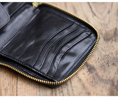 Cool Black Leather Mens Short Biker Chain Wallet Coffee Bifold Zipper Biker Chain Wallet For Men