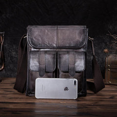 Cool Brown Leather Vertical Messenger Bag Men's Brown Side Bag Shoulder Bag Courier Bag For Men