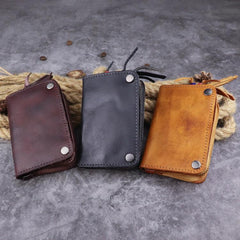 Brown Leather Key Case Key Wallet Men's Dark Coffee Key Holder Red Card Holder For Men