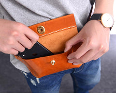 Cool Handmade Brown Leather Men Fanny Pack Hip Bag Bum Pack Waist Bag Chest Bag For Men