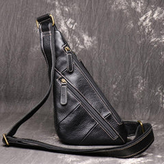 Cool Leather Black Sling Bag Men's Small Sling Pack Coffee Sling Backpack Small Courier Bag For Men