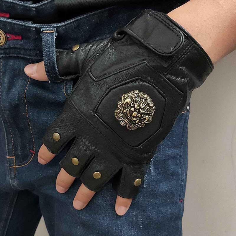 Cool Mens Black Dragon Head Leather Half-Finger Rock Gloves Black Motorcycle Gloves Biker Gloves For Men