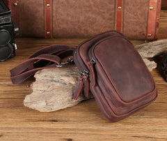 Cool Mens Leather Barrel Belt Pouch Mini Shoulder Bag Waist Bag Belt Phone Holster For Men