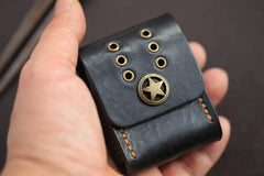 Cool Texas Star Black Leather Mens Zippo Lighter Cases Standard Zippo Lighter Holder Belt Loop For Men