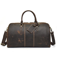 Cool Leather Men Large Brown Overnight Bag Travel Bag Weekender Bag For Men