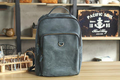 Cool Camel Leather Mens Travel Black Backpack Work 14 inches Brown Work Backpack For Men