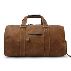 Cool Brown Leather Men's Overnight Bag Large Travel Bag Duffel Bag Weekender Bag For Men