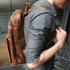 Cool Brown Leather Mens Backpack Travel Backpacks Laptop Backpack for men