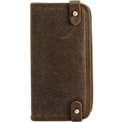 Cool Canvas Leather Mens Bifold Long Wallet Long Wallet for Men
