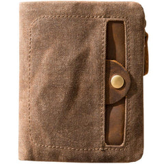 Cool Canvas Mens Small Wallet Bifold Vintage Short Wallets for Men