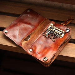 Cool Black Leather Mens Short Key Wallet Bifold Brown Small Key Wallet Key Holder For Men
