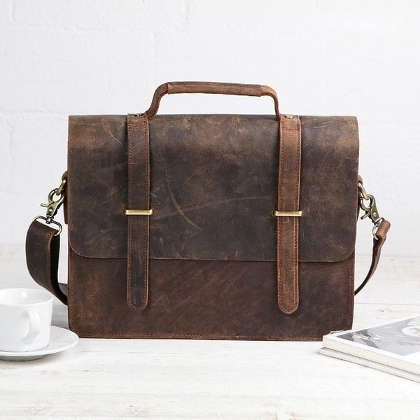 Cool Coffee Leather Mens Briefcase Work Shoulder Bag Laptop Bag Business Bag for Men
