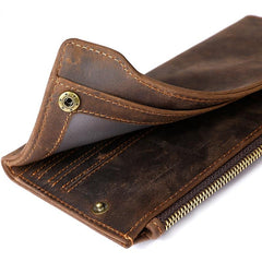 Cool Dark Brown Mens Leather Long Wallet Bifold Long Multi-Cards Wallet for Men