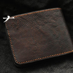 Distressed Coffee Leather Mens Small Wallet billfold Wallet Handmade Bifold Front Pocket Wallet For Men