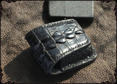 Cool Handmade Black Leather Mens Zippo Lighter Cover Classic Zippo Lighter Holder For Men