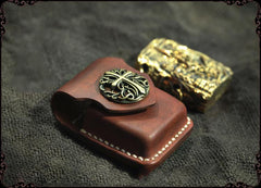 Cool Handmade Brown Leather Mens Zippo Lighter Case Heavy Armor Lighter Holder for Men