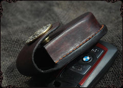 Cool Handmade Brown Leather Mens Car Key Case Car Key Holder with Belt Loop For Men