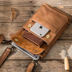 Cool Leather Belt Pouches Mens Waist Bag Shoulder Bag for Men