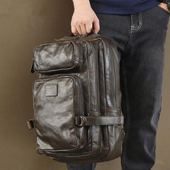 Cool Leather Mens 15 inches Computer Backpack Travel Backpacks Brown Weekender Bag Travel Bag for Men