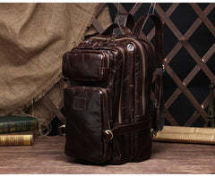 Cool Leather Mens Backpack Large Vintage Travel Bag for Men