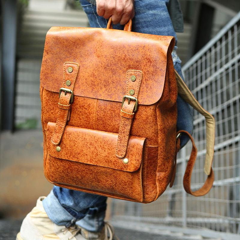 Cool Leather Mens Backpacks Travel Backpack Vintage Laptop Backpack for men