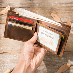 Cool Leather Mens Briaded Small Wallet Bifold Vintage Slim billfold Wallet for Men