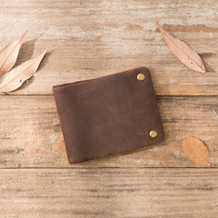 Cool Leather Mens Slim Small Wallets Bifold Vintage Short Wallet for Men