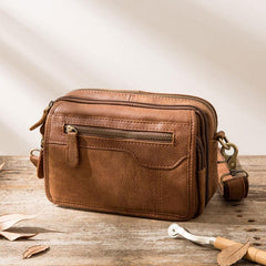 Cool Leather Mens Small Messenger Bags Shoulder Bags for Men