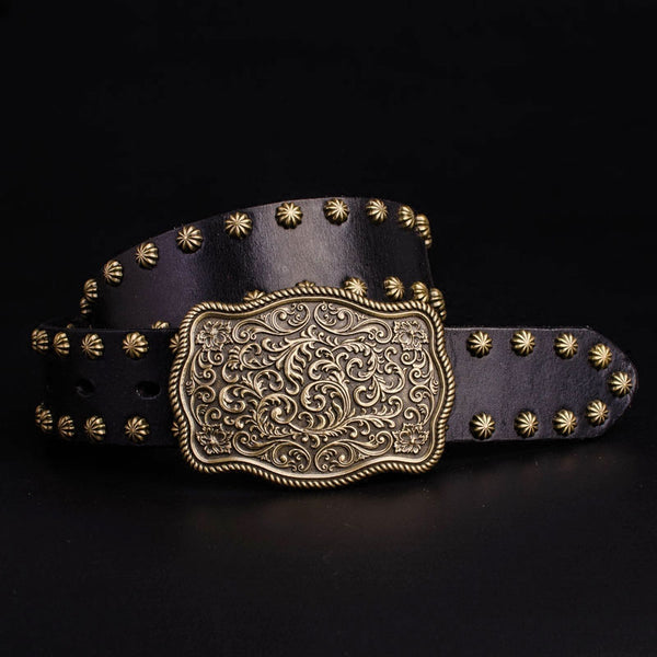 Cool Leather Mens Western Belt Floral Men Biker Motorcycle Leather Belt