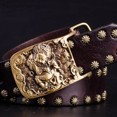Cool Leather Mens Western Belt Men Biker Motorcycle Leather Belt