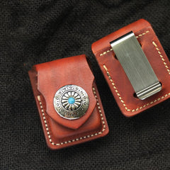 Cool Light Brown Leather Mens Zippo Lighter Cases With Belt Loop Handmade Classic Lighter Holders For Men