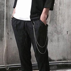 Fashion Men's Women's Beaded Double Stainless Steel Long Pants Chains Biker Wallet Chain For Men