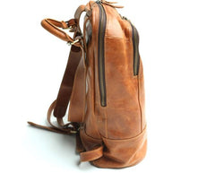 Cool Mens Leather Backpack Travel Backpack Laptop Backpack for men