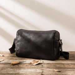 Cool Small Leather Black Mens Messenger Bags Shoulder Bags  for Men
