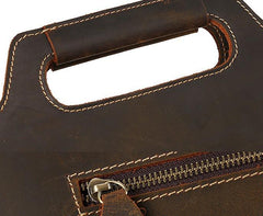 Vintage Leather Men Brown 11inch Briefcase Professional Briefcase Shoulder Bags For Men