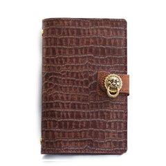 Creative Handmade Leather A6 Journal Travel Notepad Brown Notebook For Men