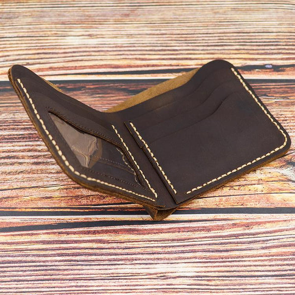 Vintage Dark Brown Leather Men's Small Wallet Bifold Short Wallet For Men