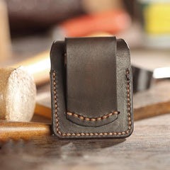 Dark Brown Handmade Leather Mens Armor Zippo Lighter Cases With Belt Loop Zippo Armor Lighter Holders For Men