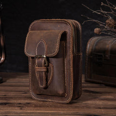 Brown LEATHER MEN'S Phone Holster Small Belt Pouch Mini Waist Bag Vertical Phone Holster FOR MEN