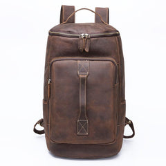 Dark Coffee Bucket Leather Men's 14 inches Large College Backpack Barrel Travel Backpack For Men